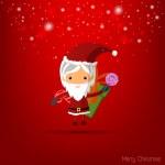 Vector Santa Girl Claus. Vector illustration for christmas card. — Stock Vector #57878713