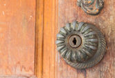 Locking on the wooden door  — Stock Photo