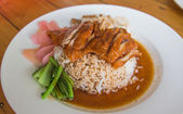 Duck over steamed rice — Stock Photo