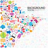 Social network background with media icons — Stock Photo