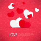 Red icon heart Valentines day card with sign on Icon love backgr — Stock Photo