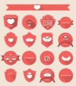 Valentine set of retro vintage badges and labels, vector illustr — Stock Photo
