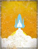 Rocket on sky blue of sun vintage color, vector illustration — Stock Photo