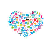 Heart template design with social network icons background, vect — Stock Photo