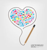 Lápiz dibujan detrás el diseño de plantilla de corazón con los iconos de redes sociales — Foto de Stock