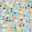 Social network with media icons background, vector illustration — Stock Photo #74232329