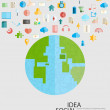 World Social network with media icons, vector illustration — Stock Photo #74232211