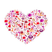 Cosmetic, make up and beauty icons and background heart shape. — Stock Photo