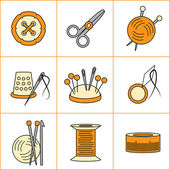 Collection of needlework, knitting, sewing icons (vector illustration) — Stock Vector