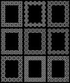 A collection of nine rectangular frames based on Celtic knots — Vettoriale Stock