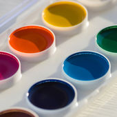 Closeup of colorful watercolor paint palette — Stock Photo
