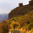 Narrow mountain road in evening ligh — Stock Photo #61670409