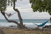 Deniz kenarında hamak — Stok fotoğraf