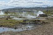 Little Geyser in Iceland while blowing water  — Foto Stock