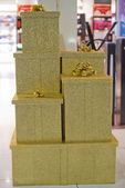 Gold christmas box — Stock Photo