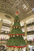 Christmas streets lights and tree — Stock Photo