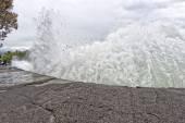 Kona harbor sea waves in big island — Foto de Stock