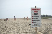 Surf only sign no swimming wading bodyboards kayak — Stock Photo