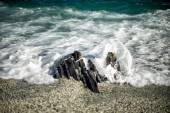 Moving effect on sea waves on the shore — Stock Photo
