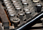 Old Typewriter shift key detail covered by dust — Stock Photo