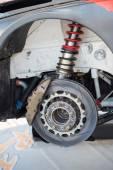 Rally car brake system detail — Stock Photo