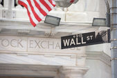 NEW YORK - USA - 13 JUNE 2015 wall street stock exchange sign — Stock Photo