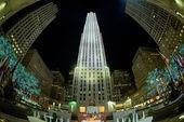 NEW YORK CITY - JUNE 13 2015: Rockfeller Center skyscraper illuminated at night — Stock Photo