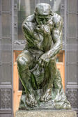Thinker copper statue at columbia university philosophy building — Stock Photo