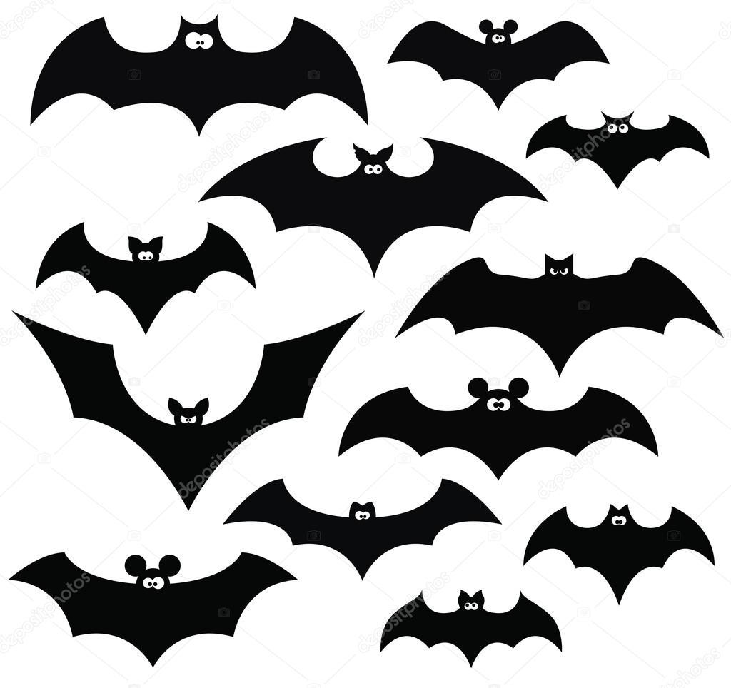 conjunto de dibujos animados de murci u00e9lagos archivo Bat Outline Clip Art Black and White Halloween Clip Art Outline