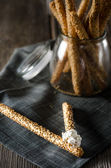 Breadstick with sesame seeds — Stock Photo
