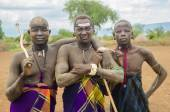 Unidentified men from Mursi tribe — Zdjęcie stockowe