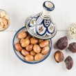 Argan Fruit on wooden tabletop — Stock Photo #57299935