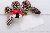 Christmas decorations and cones on wood — Foto de Stock