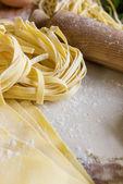 Homemade fettuccine and pasta — Stock Photo