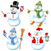 Set of cute snowman  — Stockvektor