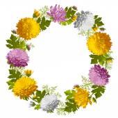Wreath from chrysanthemum — 图库矢量图片