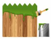 Painted wooden fence — Stock Vector