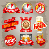 Happy hour labels — Stock Vector