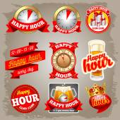 Happy Hour-Etiketten — Stockvektor