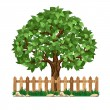 Tree and fence — Stock Vector #64456007