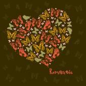 Heart of butterflies — Vetor de Stock