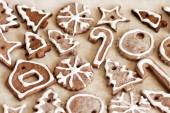 Cookies with glaze for Christmas to use as background — Stock Photo
