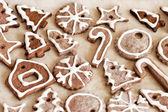 Печенье с глазурью на Рождество для использования в качестве фона — Стоковое фото