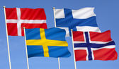 Flags of Scandinavia — Stock Photo