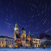 Star Trails - Royal Cathedral - Krakow - Poland — Stock Photo