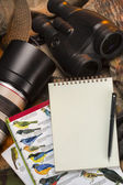 Birdwatching - Notebook - Space for text — Stock Photo