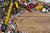 Untidy Workbench - Old Tools - Space for Text — Stock Photo
