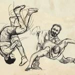 Постер, плакат: Greco Roman Wrestling An hand drawn illustration vector set