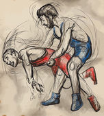 Greco-Roman Wrestling. An hand drawn vector illustration. — Stock Vector