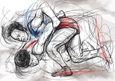 Greco-Roman Wrestling. An hand drawn vector illustration. — 图库矢量图片